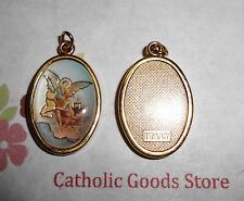 Saint St Michael Italian 1 inch Gold Tone and Enameled - Medal