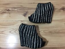 Zara Black White  Woven Peep Toe Wedge Built In Heel Shoe Boot UK 4