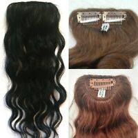 """8 or 14"""" 100% Human Hair Undetectable Wavy Clip In Filler Seamless Topper Piece"""