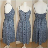 Vintage Style Blue White Ditsy Floral Button Front Midi Boho Tea Dress L Strappy
