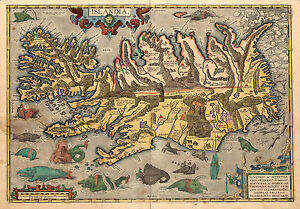 1590 Islandia Iceland Map Sea Monsters Historic Vintage Poster Abraham Ortelius