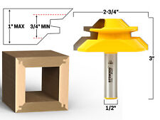 """45 Degree - Up to 1"""" Stock Lock Miter Router Bit - 1/2"""" Shank - Yonico 15122"""