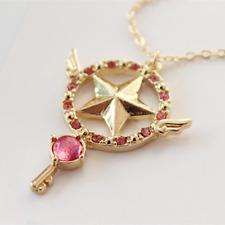 Anime Card Captor Sakura The Clow Magic Star Wand Metal Crystal Pendant Necklace