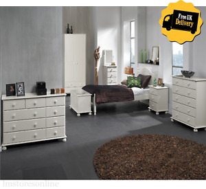 WHITE Rustic Bedroom Furniture Set Of Wardrobes, Chest of Drawers, Bedside Table