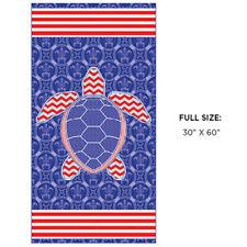 New Red White & Blue Sea Turtle Beach Towel Bath Pool Gift Turtles Us Flag Usa
