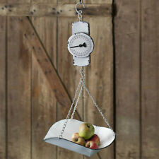 New listing Country new Hanging decorative Produce Scale in White Tin