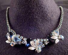 Vintage D&E Juliana Light Dark & Blue Aurora Borealis Rhinestone Choker Necklace