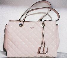 GUESS Luxury Pink Gold Quilted Shopper Handbag Glamour Tote Bag Roses Flowers