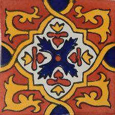 "Handmade Mexican Tile Sample  Talavera Clay 4"" x 4"" Tile C310"
