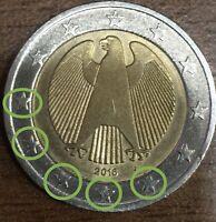 2 euro € Fehlprägung Deutschland 016 J Doppelter Rand 🌙 5 x Geschnittene Sterne