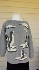 Vintage lambswool blend long sleeves grey, black and white penguin jumper Size L