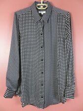 TB09308- EQUIPMENT Women's Slippery Polyester Long Sleeve Blouse Black White M