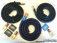 Sky High Oversized 1/0 Gauge AWG Big 3 Upgrade BLUE/BLACK Electrical Wiring Kit