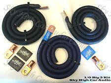 Sky High Oversized 1/0 Gauge AWG Big 3 Upgrade BLUE/BLACK Electrical Wiring Kit