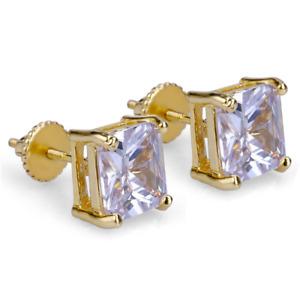 MENS 14K YELLOW GOLD LAB DIAMOND HIP HOP SMALL SCREW BACK STUD EARRINGS 8/6/4mm