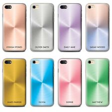 PERSONALISED PRINTED BRUSHED METAL EFFECT PHONE CASE FOR APPLE IPHONE GEL COVER