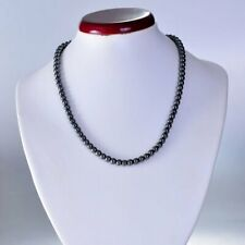 Magnetic Hematite Bead Necklace Retro Round Black Pearl Women Men Jewelry Gift