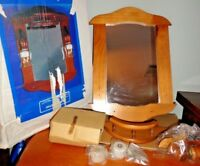 VINTAGE HOUSE OF LLOYD JULIET WALL MIRROR  OAK WOOD MIRROR WITH CANDLE HOLDER