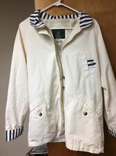 RARE ORVIS Jacket Coat Women's M 90s Cream Nylon Lining Cotton Blend Full Zip