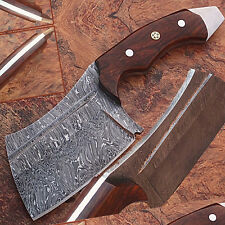 1095 Damascus Steel Butchers Knife Cutlery Kitchen Chopping Meat Cleaver Full Ta