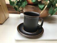 Arabia Finland Ruska Tall Tea Cup - Wide Handle or D Handle Mug - with Saucer