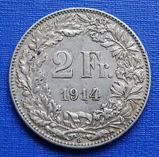Switzerland 2 Francs Coin~1914 Helvita+Sheild~KM#21~835 Silver 10g~VF~#1062