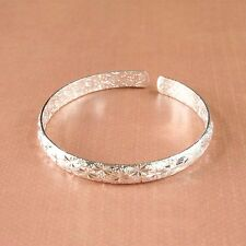 Classic Sterling Silver Plated In-and-out Sparkle Stars Engraved Bangle