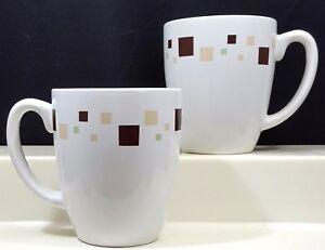 Corelle Geometric Mugs 12 oz Set of 2 White Livingware Brown Beige Green Squares