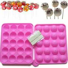 20 Silicone Tray Pop Cake Stick Mould Lollipop Party Cupcake Baking Mold Pink