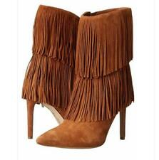 Trendy Women Pointed Toe Ankle Boots Stiletto Heel Fringed Shoes Show Club Pumps