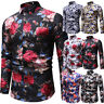 Fashion Men's Summer Casual Dress Shirt Mens Floral Long Sleeve Shirts Tops Tee