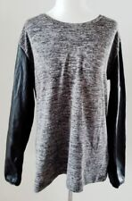 ASOS LEATHER SLEEVE HEATHERED GREY KNIT TOP SZ 14