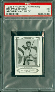 1926 SPALDING OLYMPICS DR. PAUL CROUCH ARCHERY AD BACK BGS 5  100 MINTED *