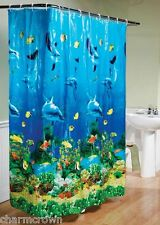 HOT Tropical Beach Dolphin Sea Life Bathroom Shower Curtain Blue Ocean W/  Hooks