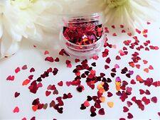 NAIL ART BRILLANTINI OLOGRAFICA * CUORI ROSSI * SAN VALENTINO vaso Spangle GLITTER Punte v2