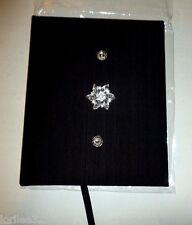 BLACK SILK FABRIC HARDBACK FLORAL DIAMOND RHINESTONE ACCENT DECORATIVE JOURNAL