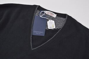 Gran Sasso NWT Sweater Size US 46 XL In Black W/ Gray V Neck Virgin Wool $265