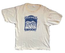 Vintage Caldwell Tavern Thrashed Faded Yellow T-Shirt Fits Mens Small 70s USA