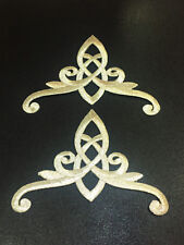 Silver Crown Celtic Knot Patch Trinity Braid Embroidered Iron On Dress Lot 2 Pcs