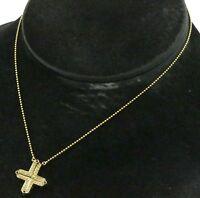 18K yellow gold .44CT diamond & sapphire convertible cross pendant necklace