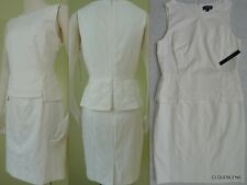 NWT TAHARI ASL Size 8 Crochet lace detail Textured Peplum Sheath Dress HEDDA