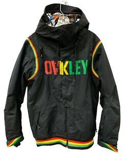 Oakley Ski/Snowboarding Jacket Black Rasta - Size Men Small - Loose Fit - EUC