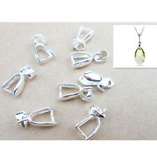 10PC Silver Plated Pendant connector Pinch clasp Bails DIY JEWELRY FINDINGS 16MM