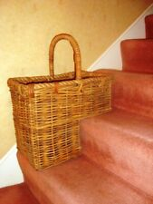SUPERB  VINTAGE FRENCH WICKER STAIR BASKET WITH ROPE EDGE TRIM
