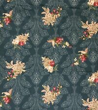 1 Yard. Beautiful Cotton Shabby Vintage Roses. Quilting,Dress,Home. Teal Color.