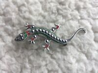 GERMANY STAMPED MARCASITE SILVER TONE REPTILE LIZARD BROOCH PIN VTG ART DECO