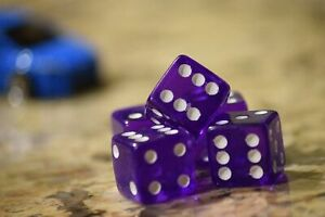 Purple 5 Transparent w/ White Pip Bunco Gaming Dice set 19mm D6 Yahtzee Quality