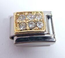 Claro Gemas Oro Rectángulo encanto italiano 9mm-se adapta Classic pulseras de abril N83
