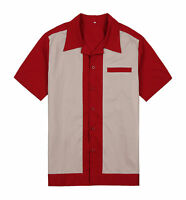 Mens Bowling Shirts Retro Vintage Charlie Sheen Style Rockabilly 50s Male Shirts