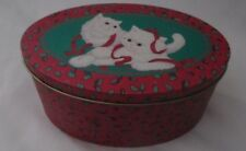 """Christmas Tin oval shaped decorated White Kittens 6.5 long 4"""" wide 3"""" high empty"""